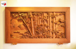 Tranh gỗ trúc điểu trường giang
