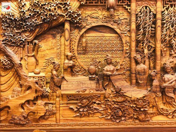 tranh gỗ cầm kì thi họa