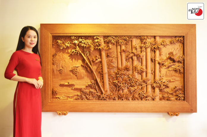 Tranh gỗ cây tre Trúc điểu trường giang