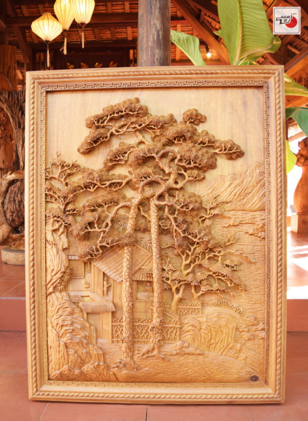 tranh gỗ đẹp treo tường song tùng
