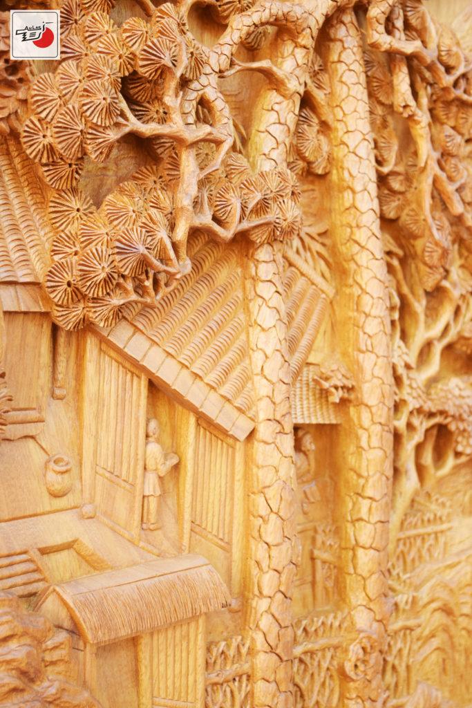 tranh gỗ đục song tùng gỗ nghệ thuật Âu Lạc