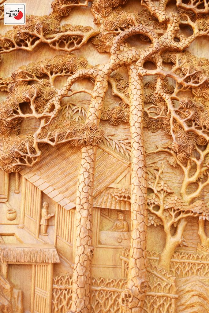 tranh gỗ treo phòng khách song tùng Âu Lạc