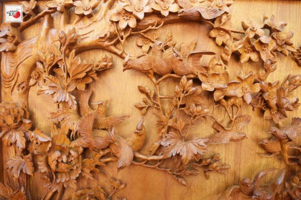 tranh gỗ bách điểu