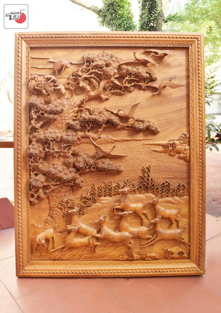 tranh go phong thuy tung hac gỗ nghệ thuật Âu Lạc