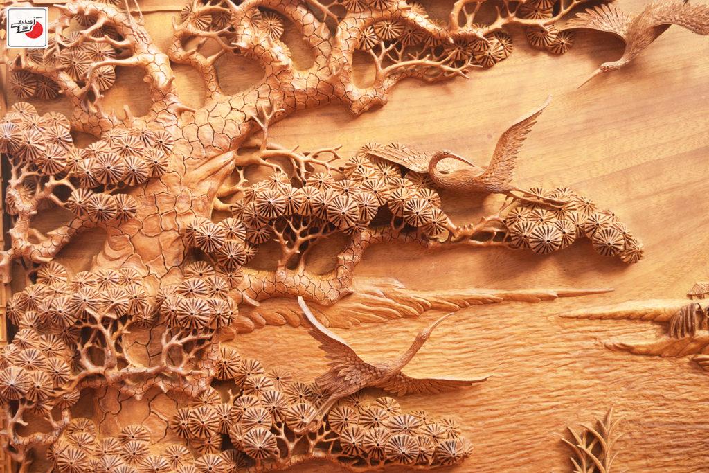 tranh gỗ tùng hạc