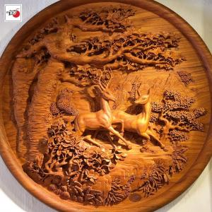 tranh gỗ đẹp song lộc