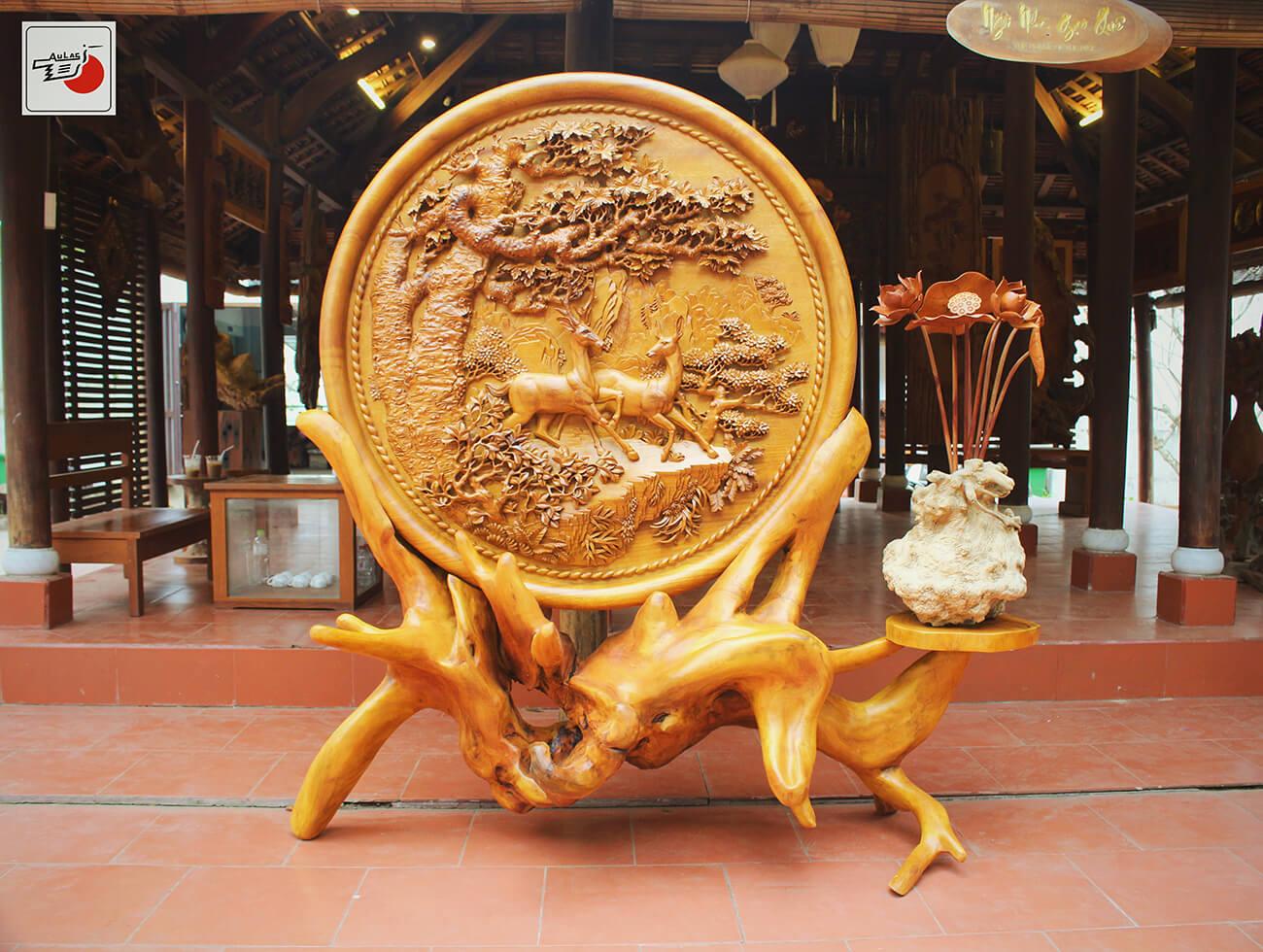 đĩa gỗ mỹ nghệ hươu nai
