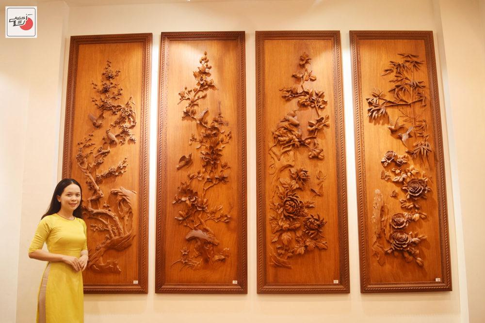Tranh gỗ Tứ Quý