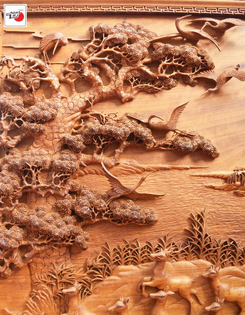 tranh gỗ đẹp tùng hạc