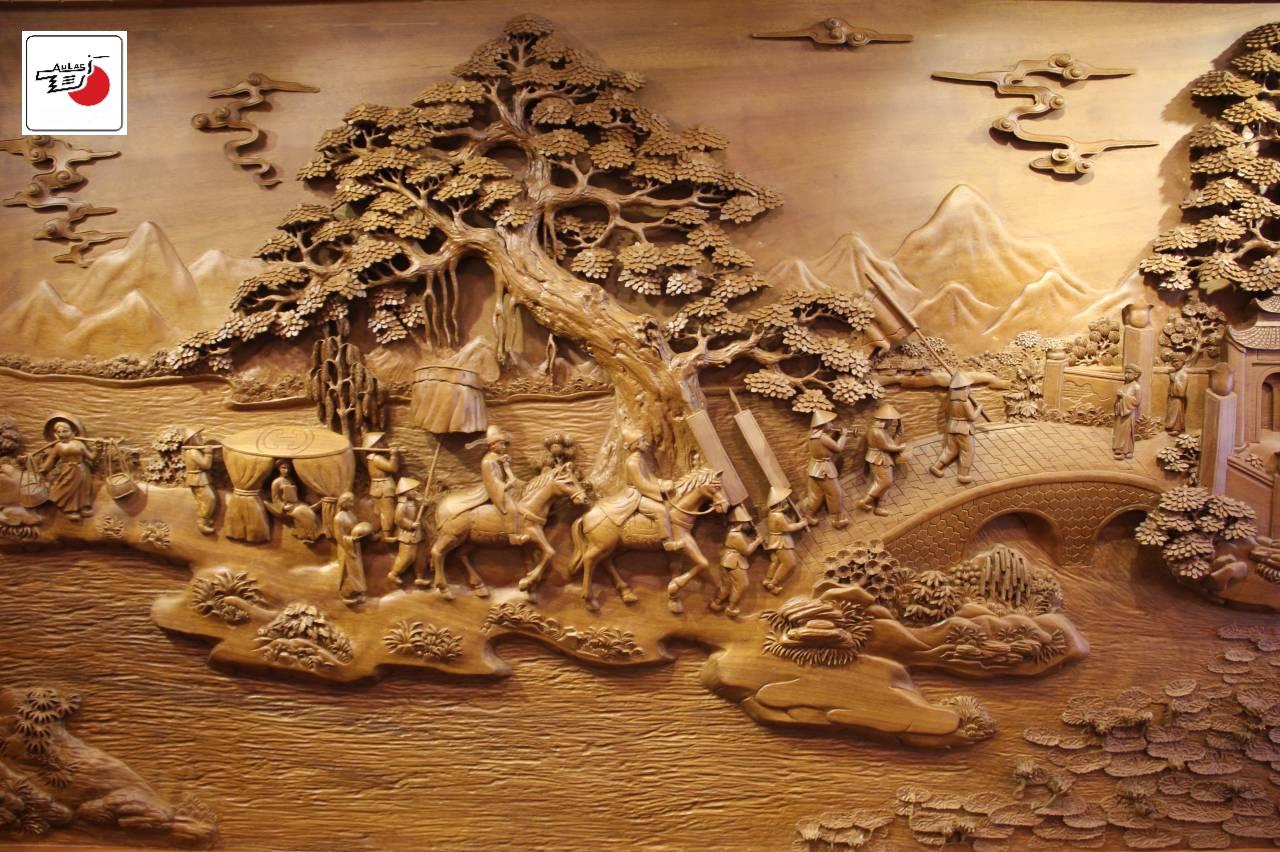 tranh gỗ vinh Quy bái tổ