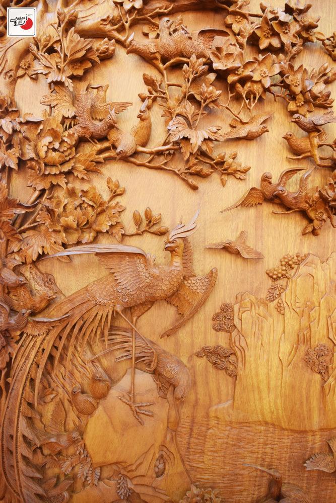 tranh gỗ bách điểu triều phụng đẹp