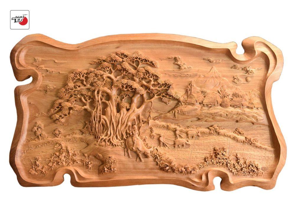 tranh gỗ đồng quê đục tay