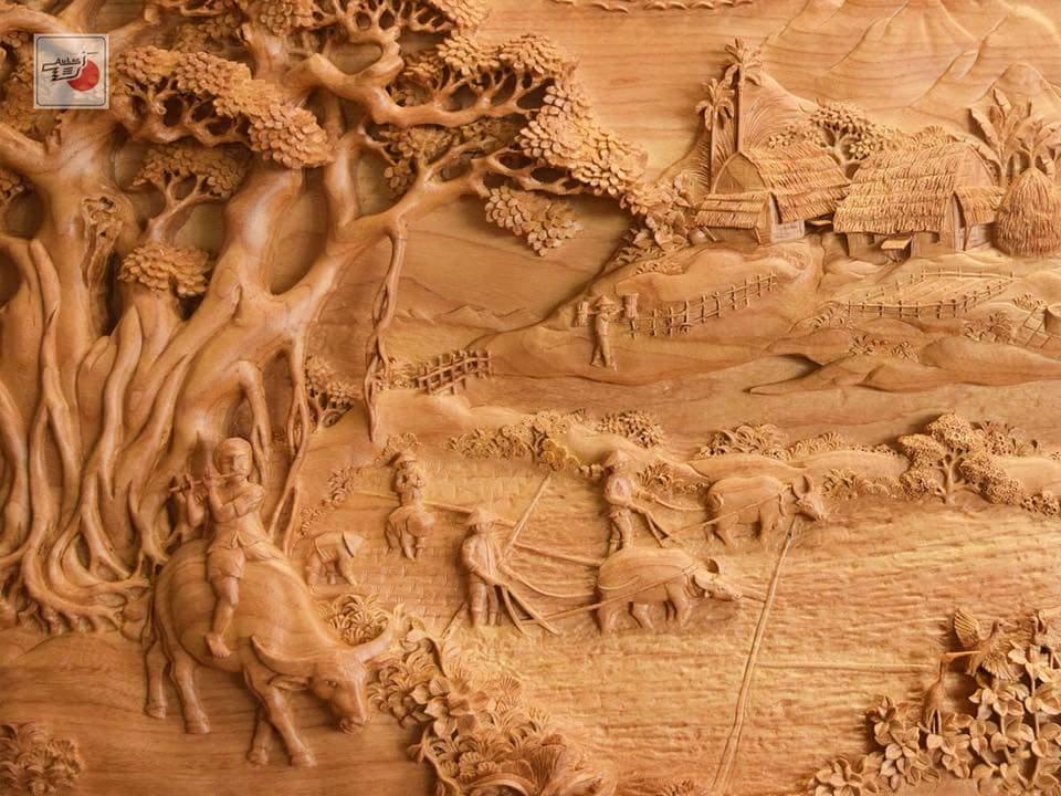 tranh gỗ đồng quê đẹp nhất