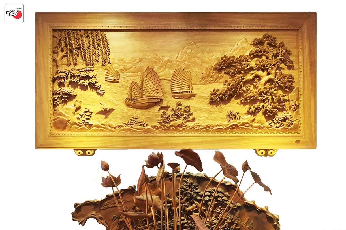 tranh gỗ đục tay thuyền buồm