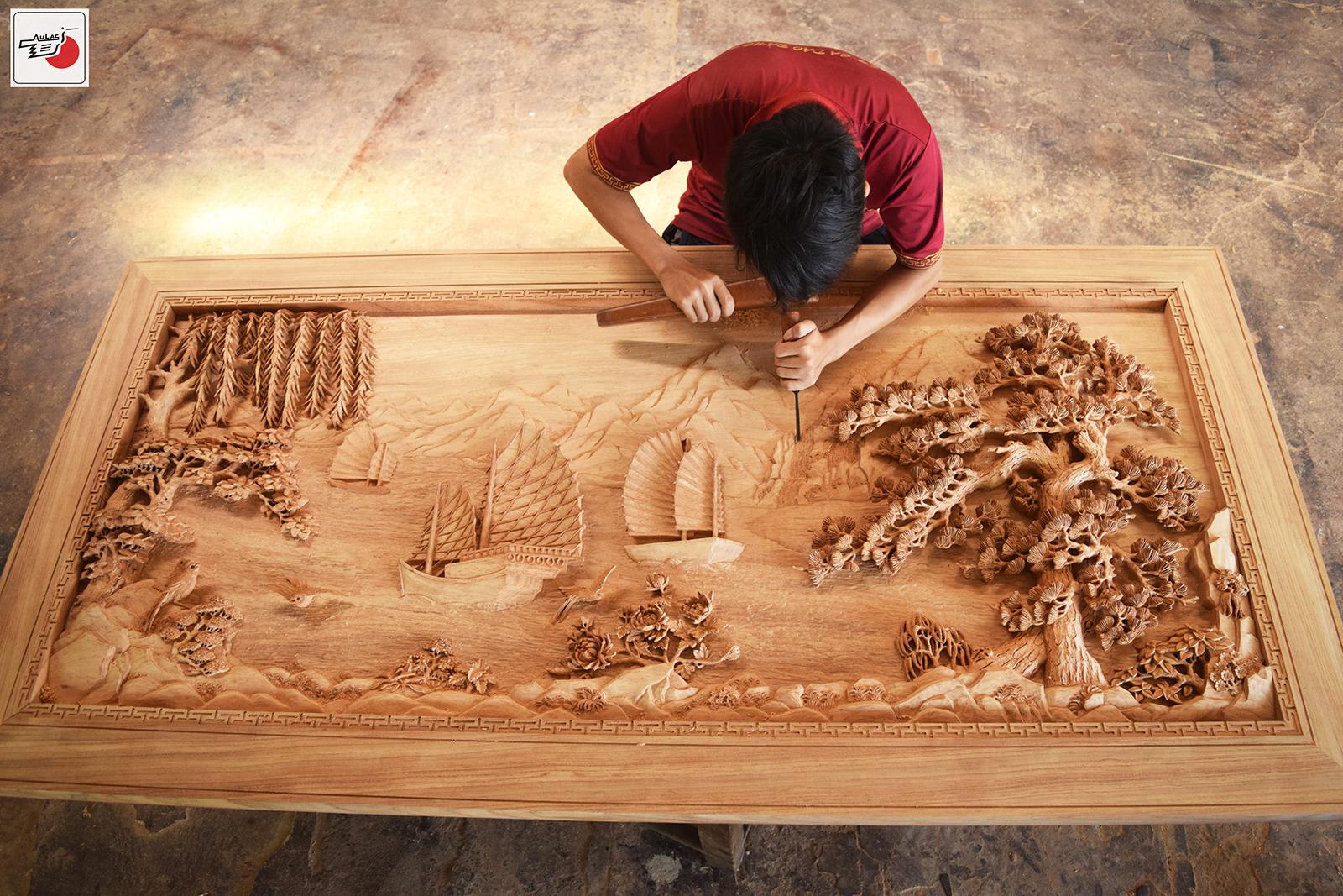 Tranh thuận buồm xuôi gió bằng gỗ
